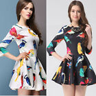 New Sexy 3/4 Sleeve Cotton Womens Prom Cocktail Beach Mini Dresses Birds Printed