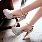 Womens Sequin Star Decor Glitter Platform Stiletto High Heel Wedding Party Shoes