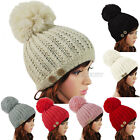 New Ladies Womens Cable Knitted Winter Warm Ski Chunky Button Bobble Hat Beanie