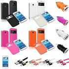 Leather Case+Clear Shield+Charger+Cable For Samsung Galaxy S4 Mini i9190