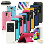 For SAMSUNG GALAXY i9600 S5 SV Luxury S View Window Flip PU LEATHER Case Cover
