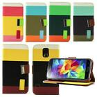 Faux Leather Wallet Flip Pouch Case Stand Cover For Galaxy S5 SV i9600 SM-G900