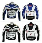 SUZUKI MOTORCYCLE RACING JACKET GSXR BIKERS RACING JACKET LEATH Blue / Black