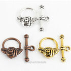 50Sets Antique Slver/Gold/Copper Rose Flower Round Toggle Clasps diy Findings