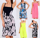 Ladies Floral Print Mini Bandeau Sundress Strap Plain Shirred Cover Up Dress8-14