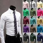 Mens Luxury Casual Slim Long Sleeved Fit Stylish Dress Shirts 11 Colors 3 Size