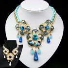 vintage antique jewellery gold gp glass crystal rhinestone choker bib necklace