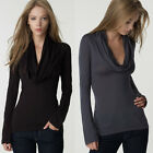 Fashion Womens Slim Basic T shirt Draped V Neck Long Sleeve Stretch Blouse Tops