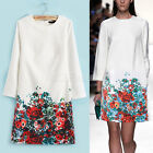 Vintage Womens White Round Neck Long Sleeve Floral Pattern Slim Dress Casual