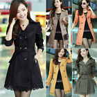 Womens Ladies Double Breasted Slim Belted Lace Design Long Jacket Trench Coat