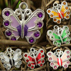 Crystal Paved Enameled Butterfly Charm Pendant For Necklace,Various Color