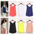 Women's Sleeveless Candy Chiffon Slim Plain Summer Casual Tank Blouse Top S M L