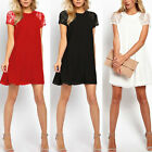 Elegant Women Chiffon Lace Short Sleeve One-Piece Shift Dress Dress Sexy Swing