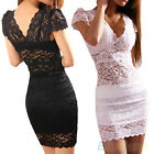 Womens Stylish Chic V Neck Lace Club Evening Cocktail Party Slim Mini Dress B47K