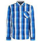 BENCH MENS MARELLE E LONG SLEEVE CHECK SHIRT TOP Blue BNWT