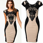 Sexy Women Lace Short Sleeve Slim Fashion Bodycon Party Cocktail Evening Dress Z