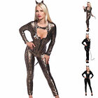 Sexy Zip Front Metallic PVC WETLOOK Leopard Cat Woman Catsuit Jumpsuit Bodysuit