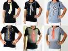 Black Or Gray Shirt With Red Tie/pinstripes/ Braces Printed On It Size M/L New