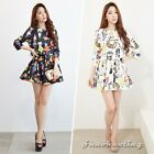 Nice Women Ladies Casual Cat Printed Crop Tops Blouse And Mini Skirt Set Outfit