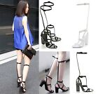 Womens T-Strap Hollow Knee High Boots High Heels Sandals Gladiator Shoes UK2.5-7