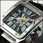 New men's leather hollow fashion automatic mechanical watches Roman numerals