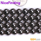 Round Natural Black Magnetic Hematite Stone Jewelry Making Crafts Beads 2-16mm