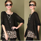Women Leopard Print Chiffon Faux Two-Piece Blouse Crew Neck Loose T-Shirt Tops