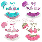 3PCS Baby Girls Swimsuit Tutu Skirt Swimwear Swim Costume Bathing Suit 1-5 Years
