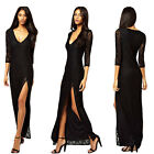 Sexy Lace Women Bodycon Thigh High Split Side Maxi Long Evening Prom Party Dress