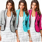 Women Laple Fashional OL Slim Suit Blazer Jacket Work Button Basic Coat Outwear