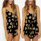 Women Sexy Hot Pants Vintage V-neck Sunflower Print Jumpsuit Playsuit Shorts-S