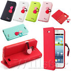CHERRY LEATHER STAND FLIP WALLET COVER CASE FOR SAMSUNG GALAXY S2 I9100 + FILM