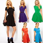 Womens Ladies Plain Jersey Short Sleeves Pleated Flared Mini Short Skater Dress