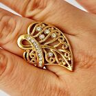 Nice Yellow Gold Filled Clear CZ Heart leaf type Womens Ring SZ 6-9#D1931-D1934