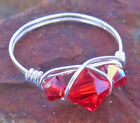 Sterling Silver Ring - Cherry Red Swarovski Crystal - All Sizes - Mothers Day