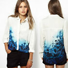 New Women Chiffon Blouse Casual Floral Long Sleeve Ladies Tops Button Down Shirt