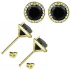 1 Carat Black Diamond Halo Solitaire Screw Back Martini Earrings 14K Yellow Gold