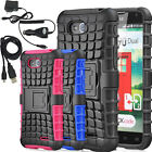 Hybrid Grenade Grip Stand Case Cover with Charger Accessories For LG Optimus L90
