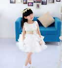 Precious  Girls Princess Wedding Bow Toddler 3D Flower Tutu Layered Skirt Dress