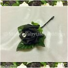 WEDDING FLOWERS BUTTONHOLE SINGLE SILK FOAM ROSE BLACK + DIAMANTÉ/PEARL