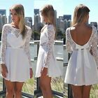 Modish Women Long Sleeve Lace Party Evening Cocktail Casual Short Mini Dress - S