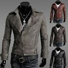 NEW Mens Fashion Collar PU Leather Slim Fit Jacket Zipper Motorcycle Short Coat