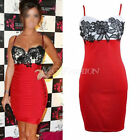 New Womens Sexy Celeb Style Lace Party Evening Cocktail Bodycon Dress Size 4-10
