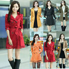 Women Trench Coat Double Breasted Turndown Collar Long Sleeve Lace Overcoat