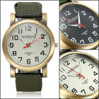 Metal Army Green Canvas Strap Men Boys Sports Hiking Quartz Analog Wristwatch