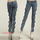Bowknot Sexy side hollow out bag hip Straight Leg Sexy Jeans Leggings Trousers