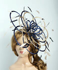 Navy & nude Saucer Disc Feather Fascinator Hat Choose any colour Satin & Feather