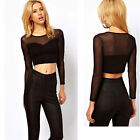 New Sexy Women Long Sleeve Mesh See-through Splicing Blouse Crop Tee Top T-Shirt