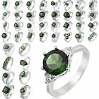 Mixed Style Lady Green Emerald 18K White Gold Plated U Choose Ring Sz 8