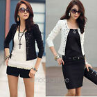 Korean Style Women Slim Outwear Jacket Suit Blazer Long Sleeve Rivet Short Coat